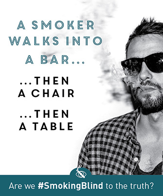 A smoker walks into a bar... then a chair... then a table.